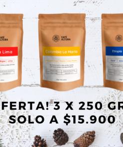 Pack 3 bolsas de 250 gr! Café en grano Perú, Colombia y Etiopía